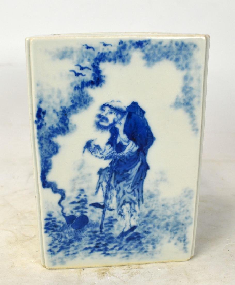 Chinese Blue and White Square Brush Pot