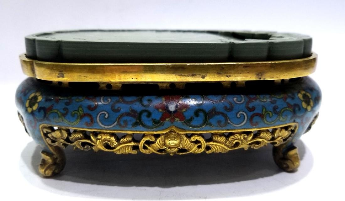 Chinese Duan Inkstone with Cloisonne Base