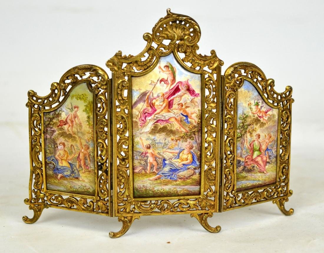 Viennese Enamel Tri-fold Panel Screen