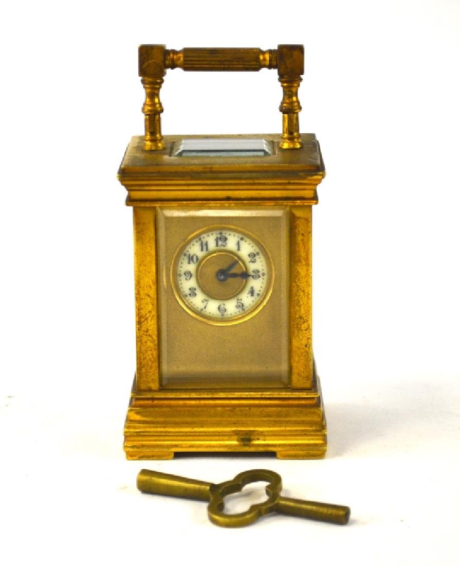 French Carriage Bronze Clock with Key