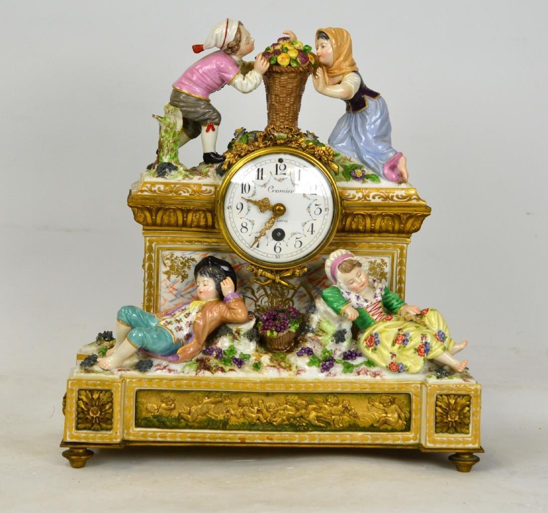 Dresden Bronze and Porcelain Clock w Figurines