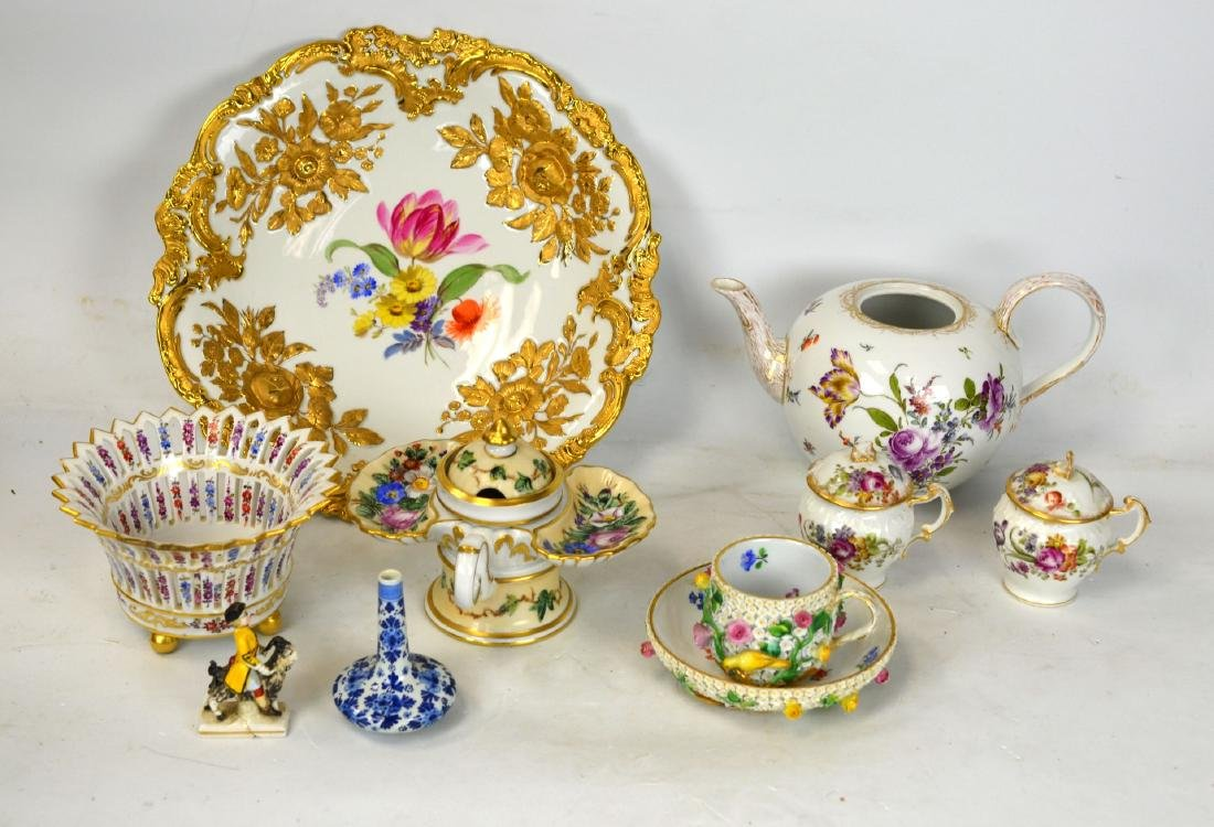 Group of 10 Porcelain Pcs Meissen Dressden