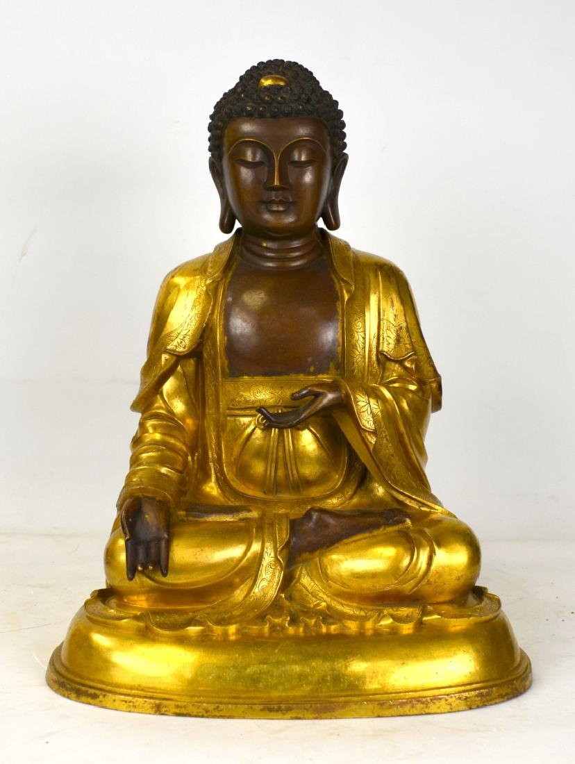 Large Chinese Gilt Buddha Figure