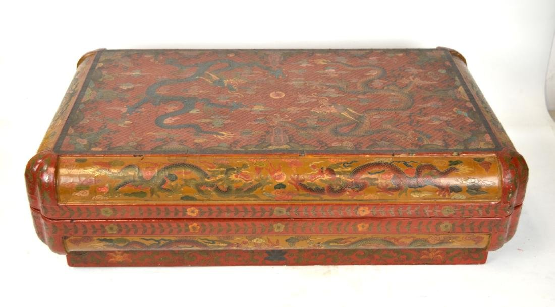 Large Chinese Cinnabar Lacquered Rectangular Box