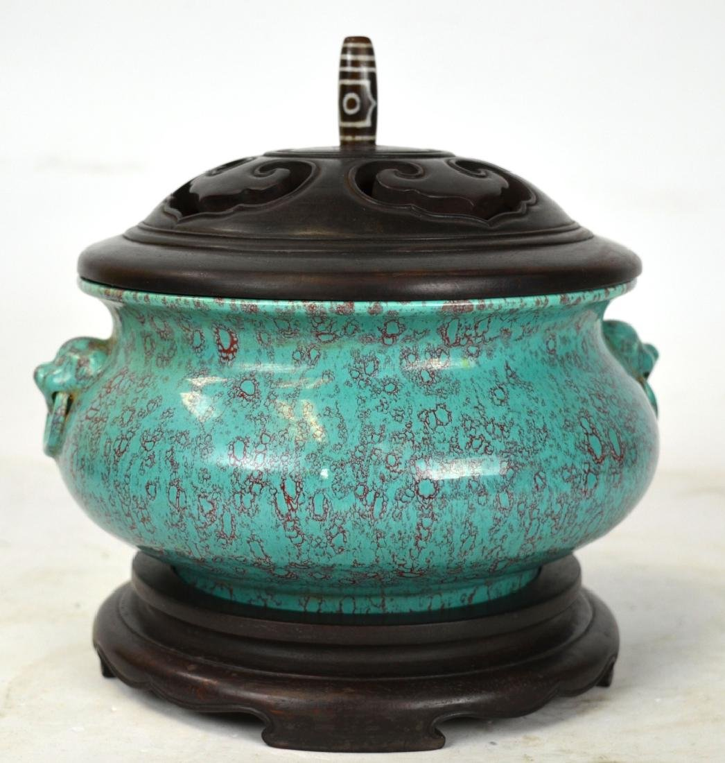 Chinese Incense Burner w Cover and Base
