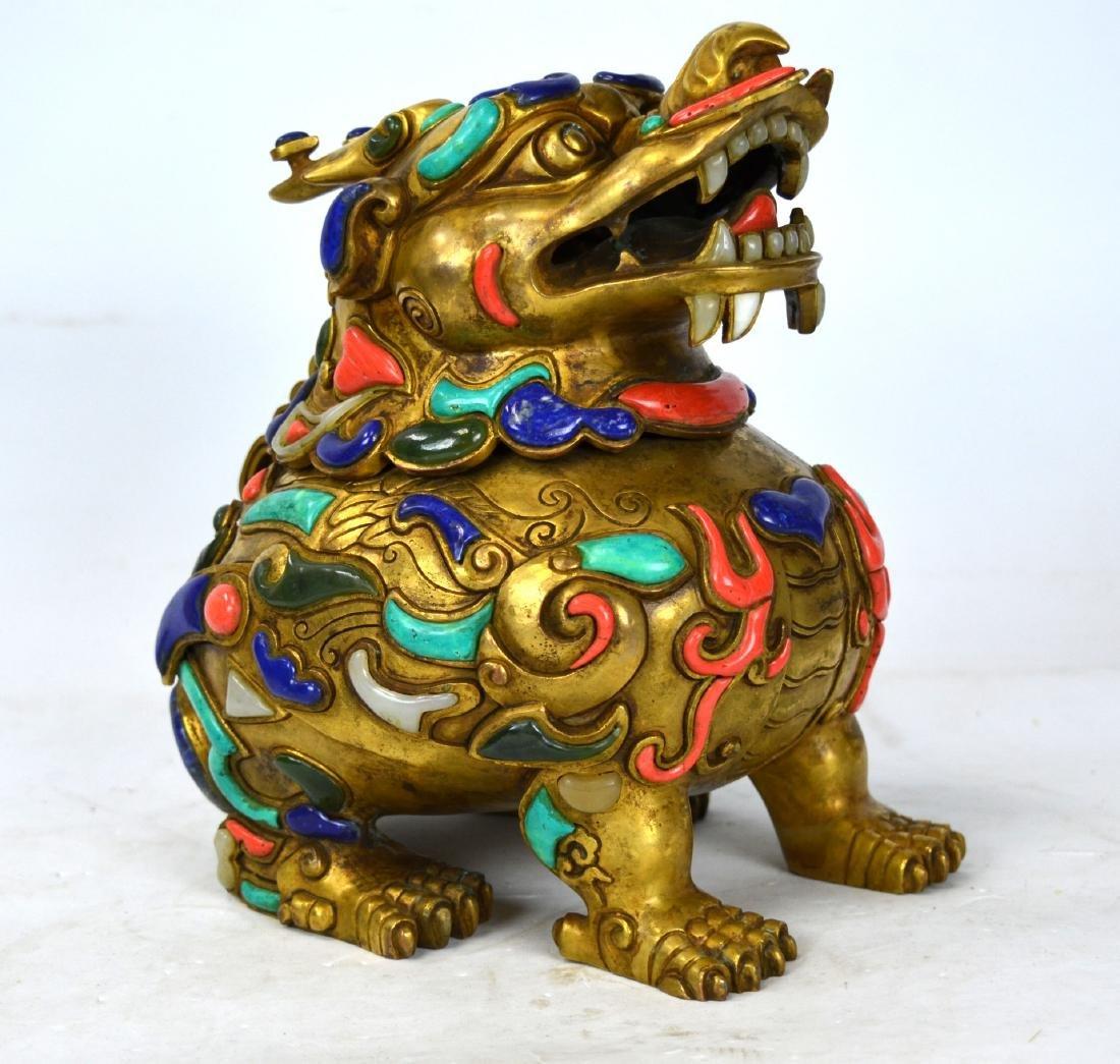 Chinese Gilt Bronze Qilin with Stone Inlaid