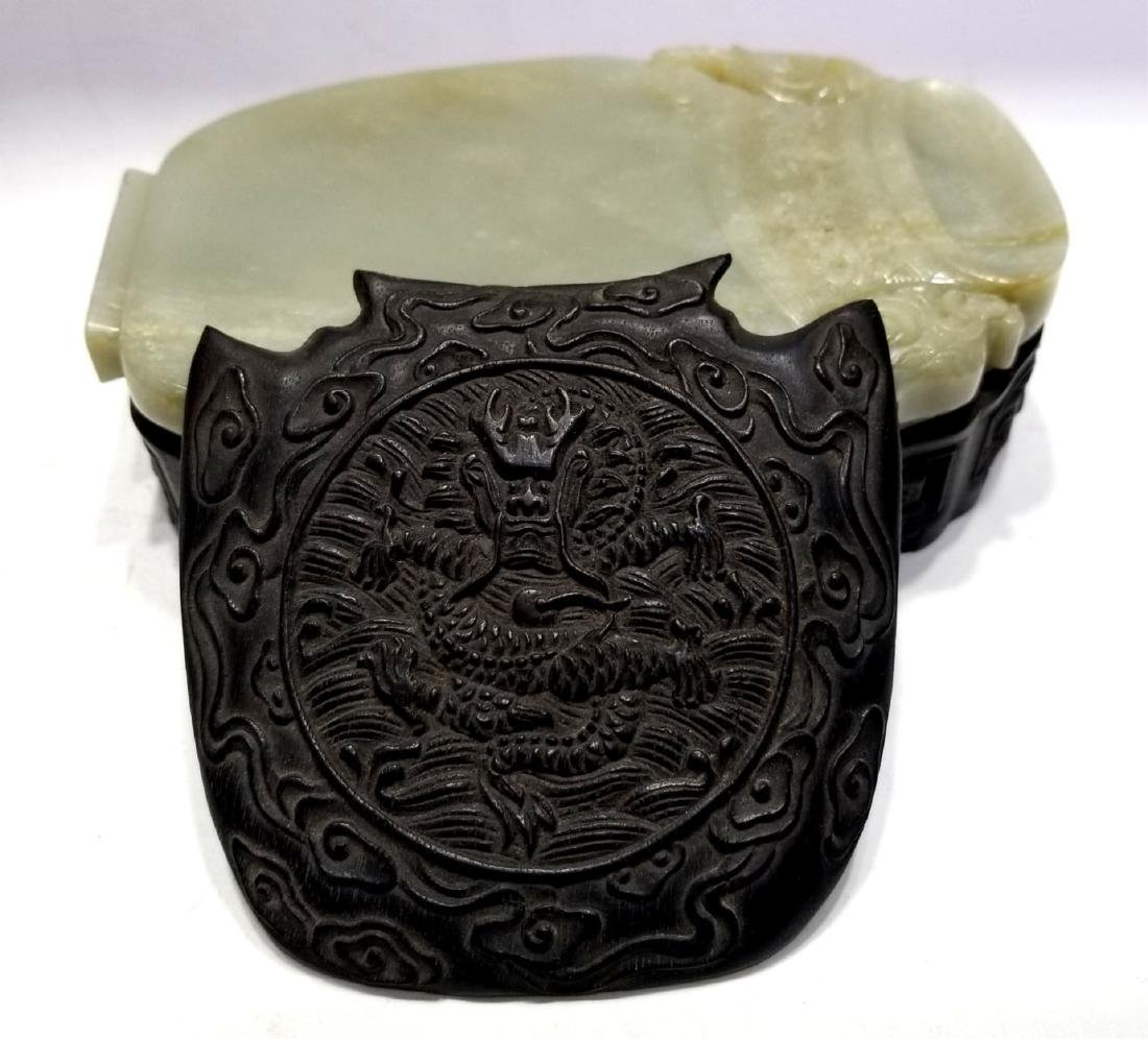 Chinese Jade Ink Stone with Wood Base & Cover - 4