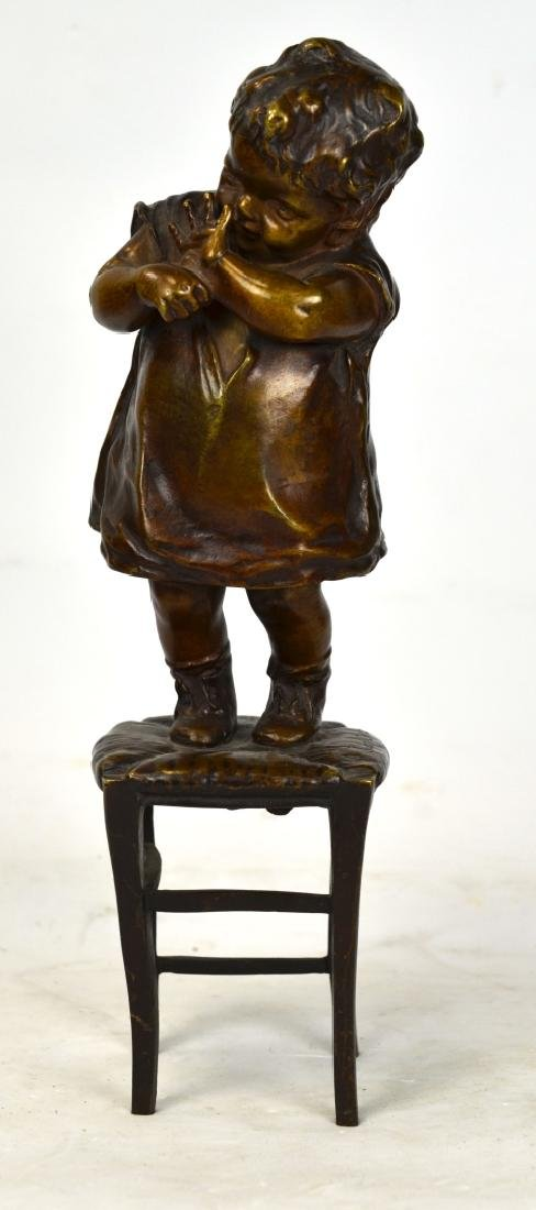 Juan Clara Bronze Sculpture (Girl on Chair)
