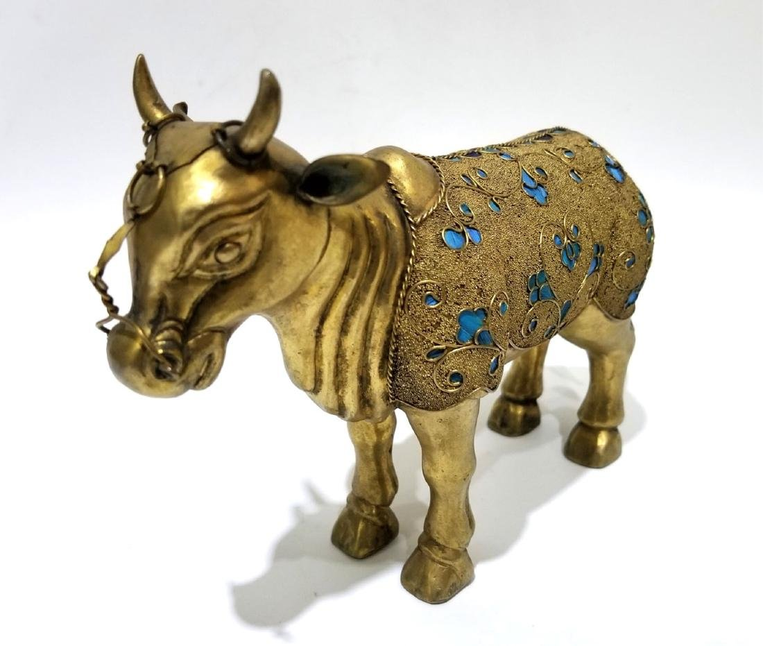 Chinese Gilt Bronze Ox with Kingfisher Feather