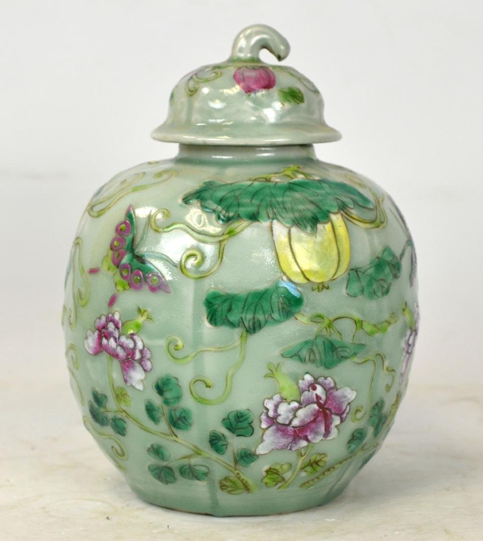 Chinese Celadon Covered Jar w Flowers