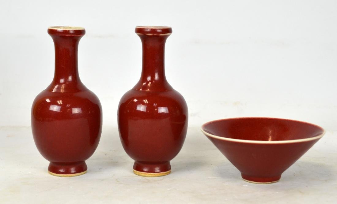 Chinese Red Glaze Vases and Bowl