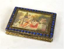 Silver Lapis Enamel Box w Miniature