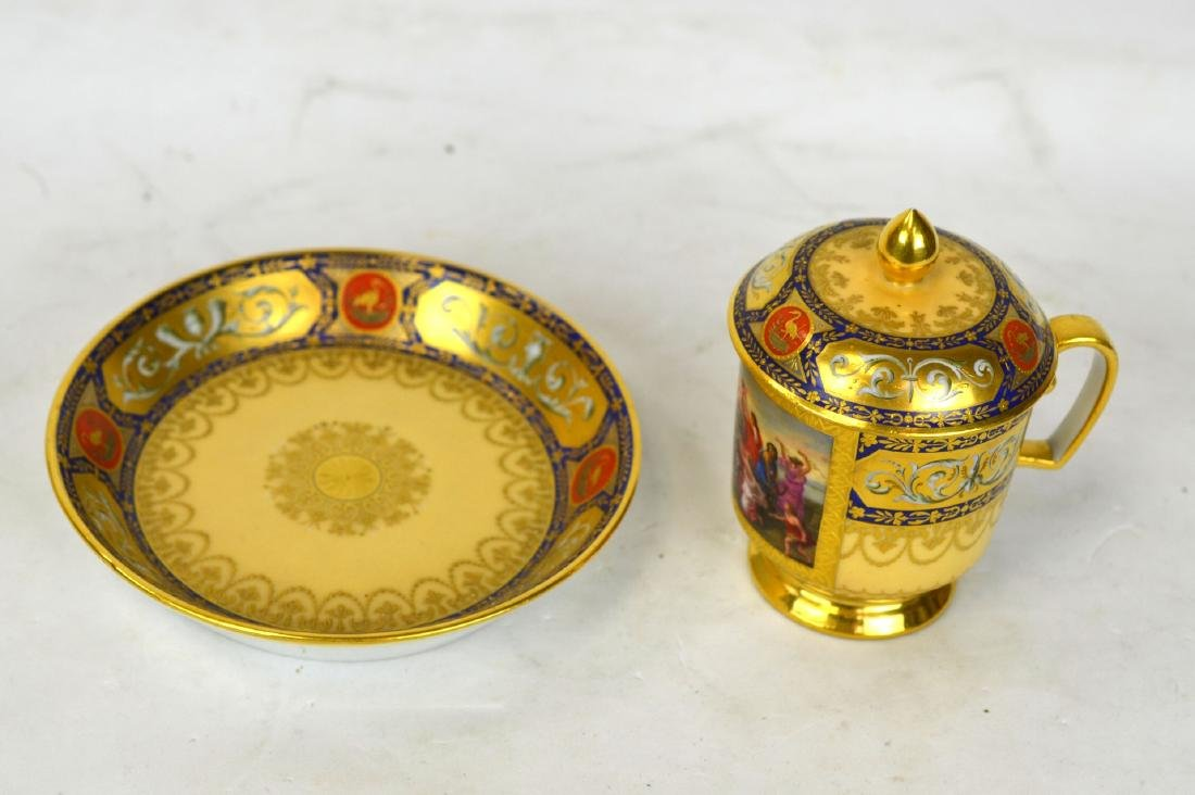 Royal Vienna Cup and Saucer w Cover