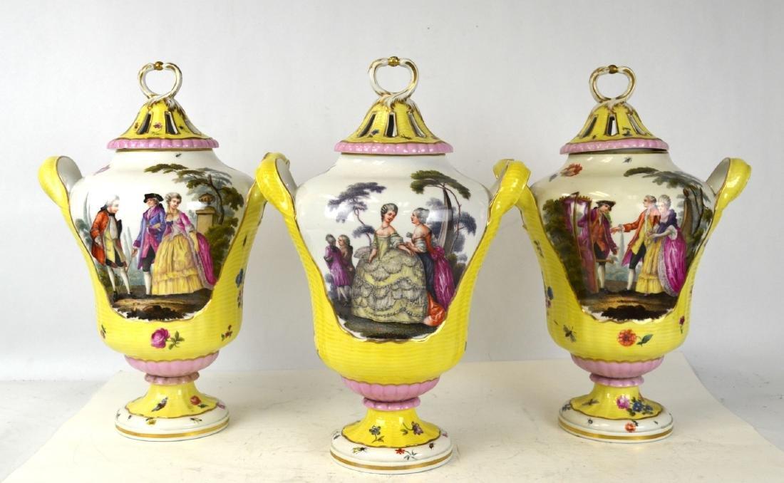 Three KPM Covered Vases