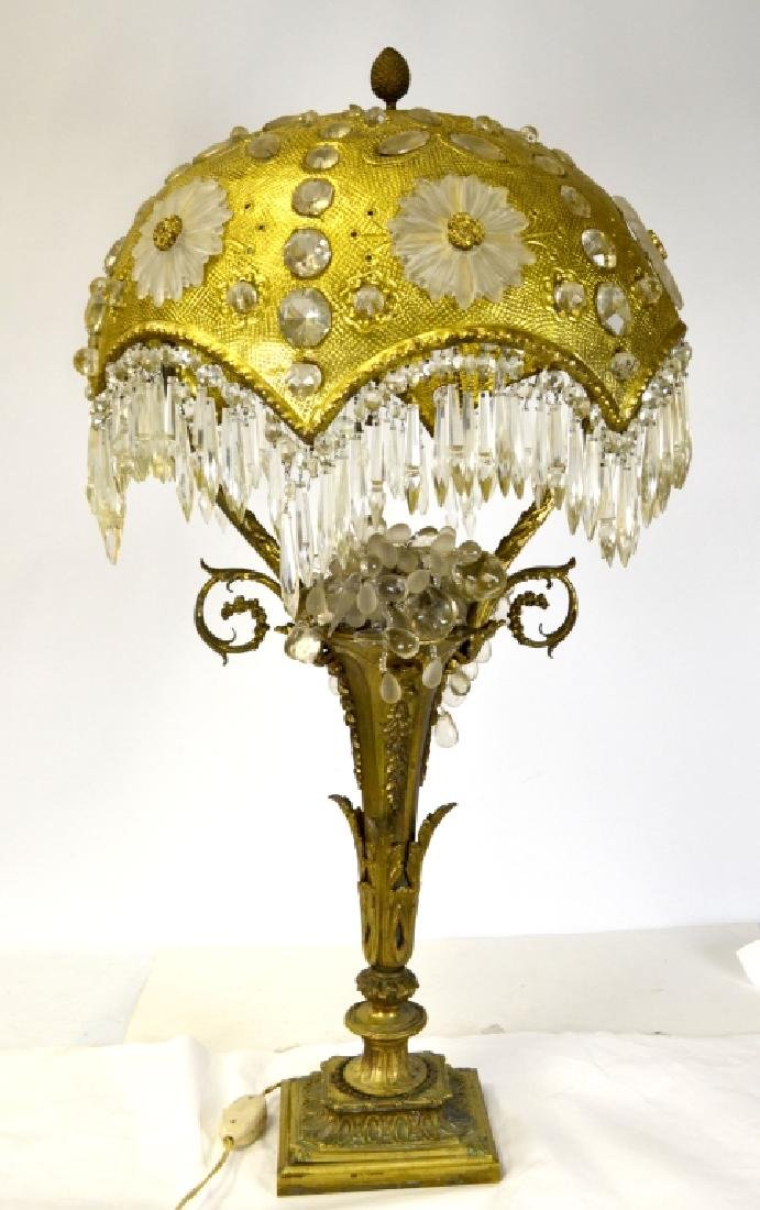 Art Decor Bronze & Crystal Lamp