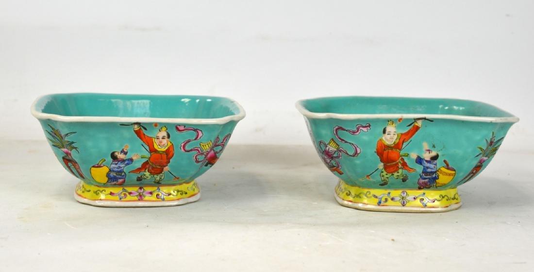 Pair Famille Rose Square Bowls