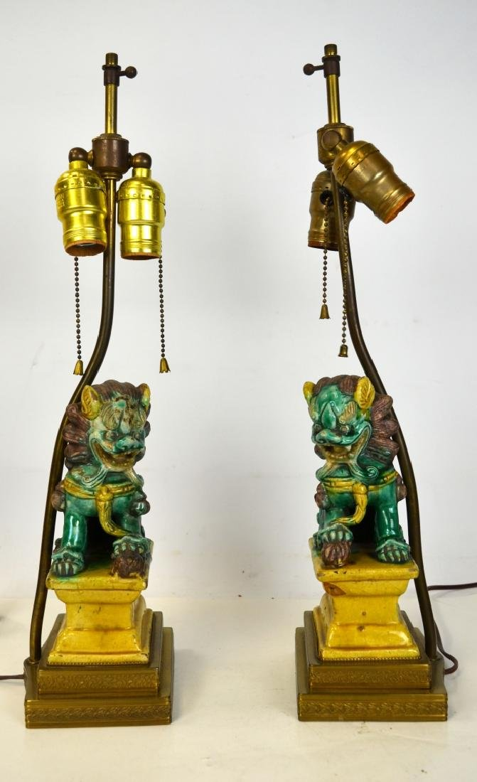 Pair Sancai Glazed Foo Dogs Lamp Bases