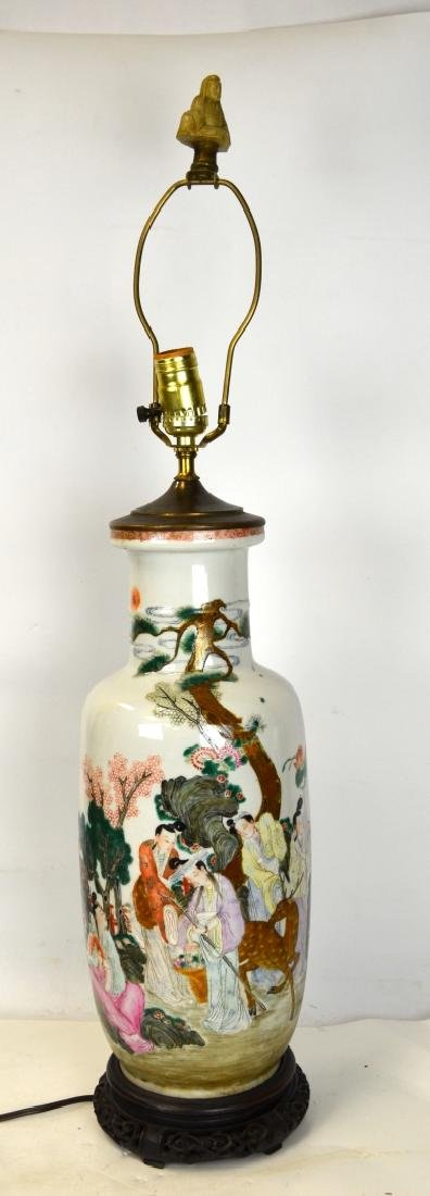Chinese Famille Rose Vase Lamp Base