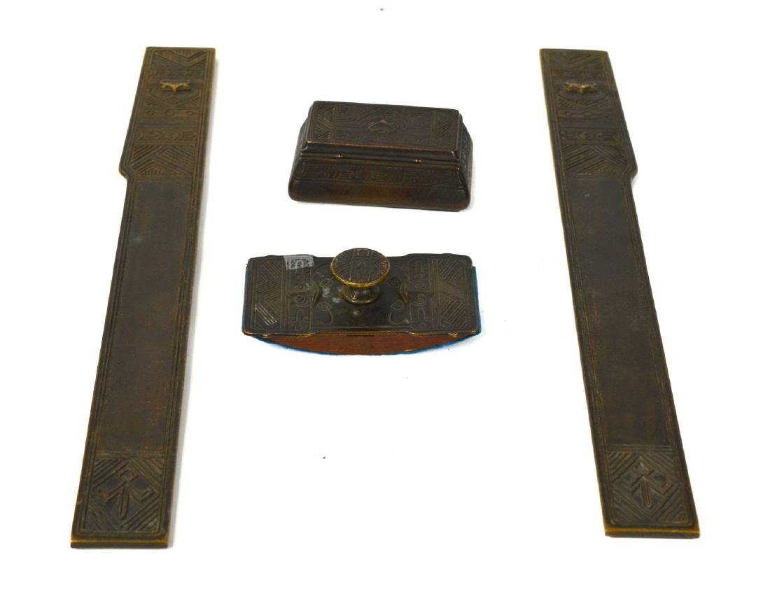 Four Tiffany Studio Bronze Set Egyptian Style