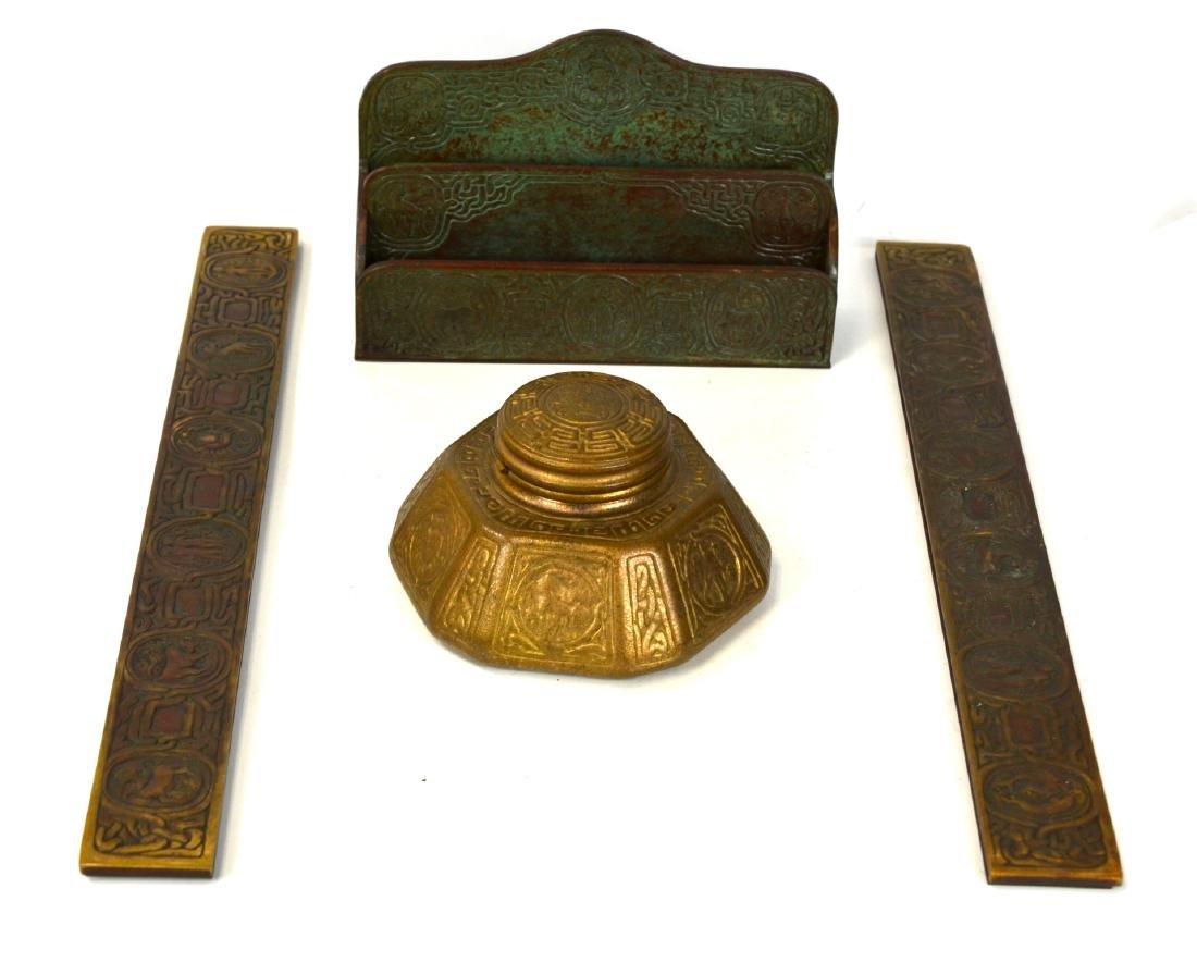 Four Tiffany Studio Bronze Zodiac Writing Set