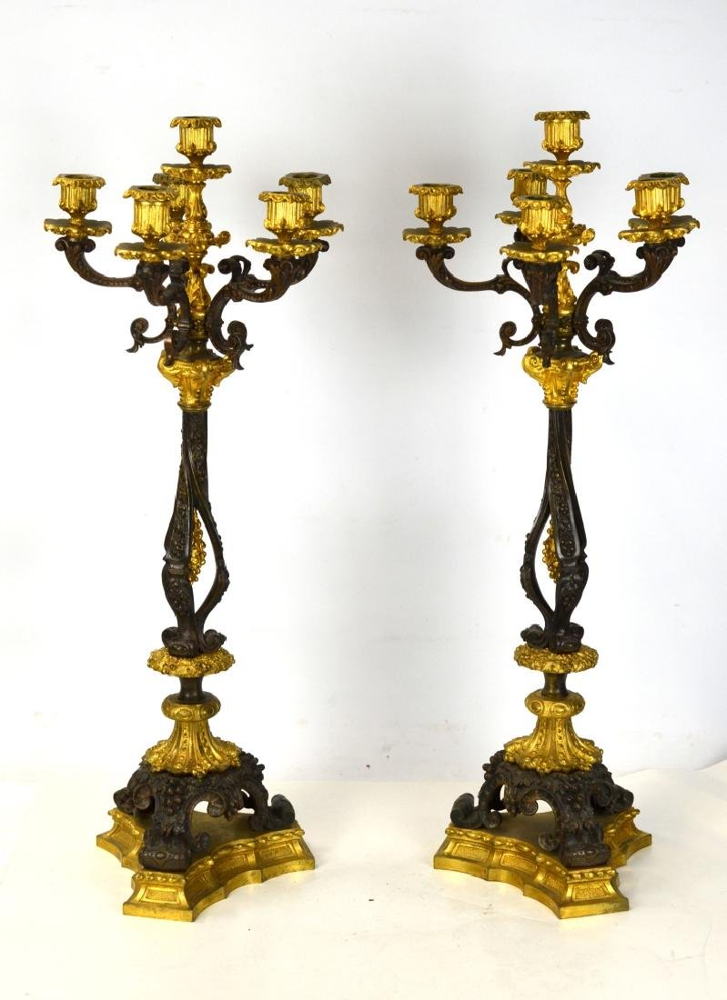 Pr of Gilt & Patinated Candelabras