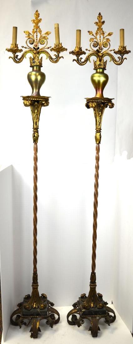 Pr of Jorchere w Tiffany Style Vase Floor Lamps