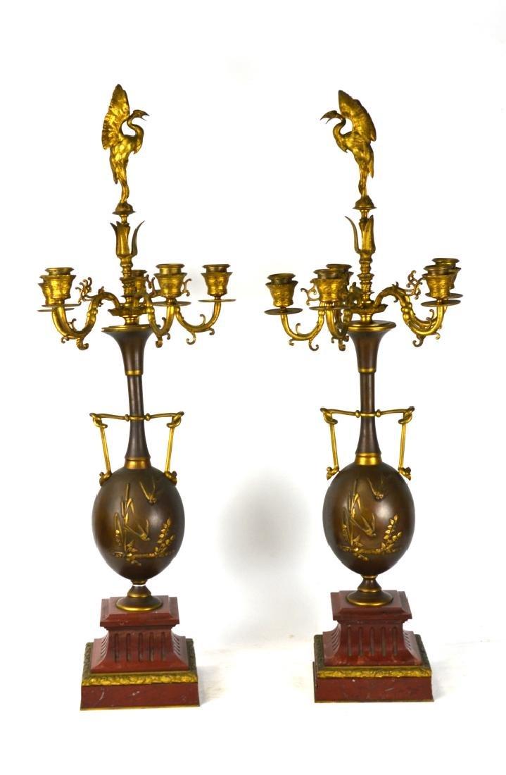 Pr French Bronze & Marble Candelabras