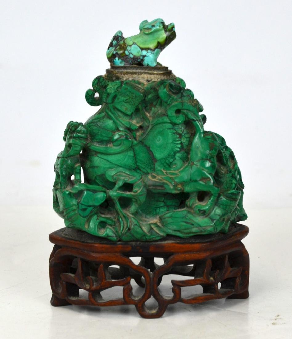 Chinese Malachite Vase with Turquoise Top