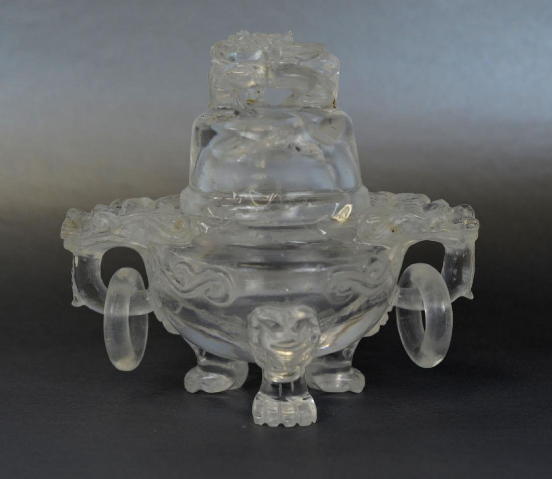 Chinese Rock Crystal Covered Tripod Censer