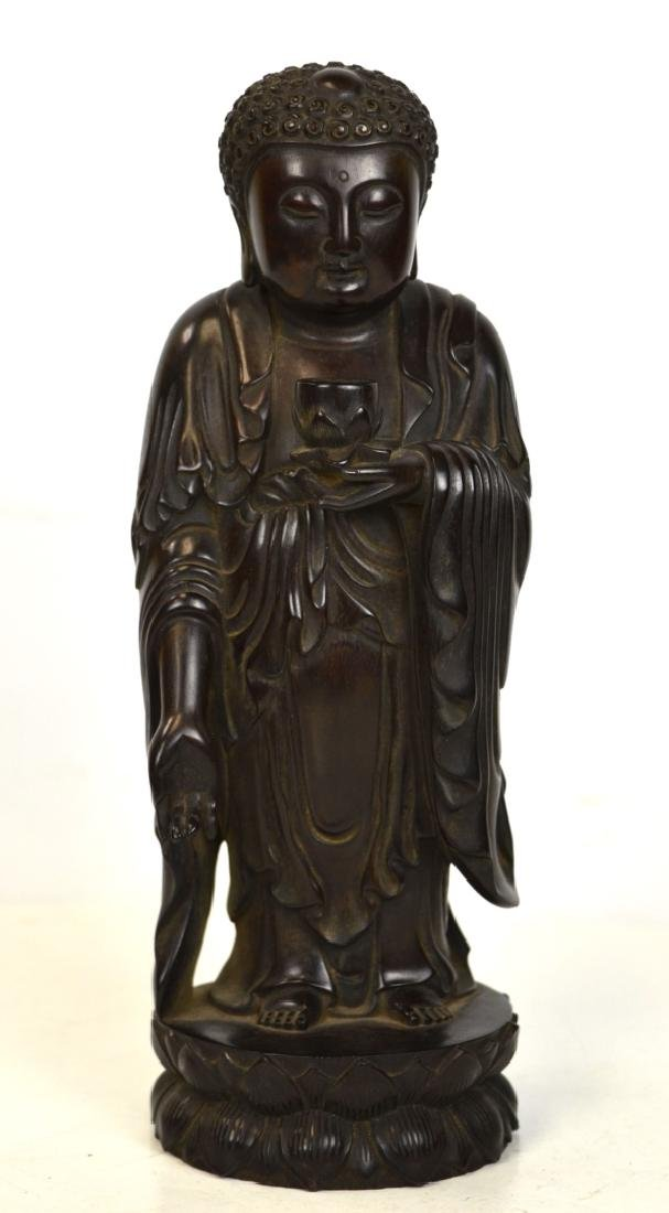 Chinese Zitan Wood Carved Buddha Statue