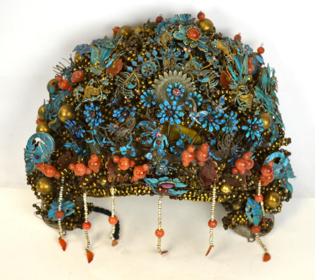 Important Chinese Kingfisher Feather Lady Crown