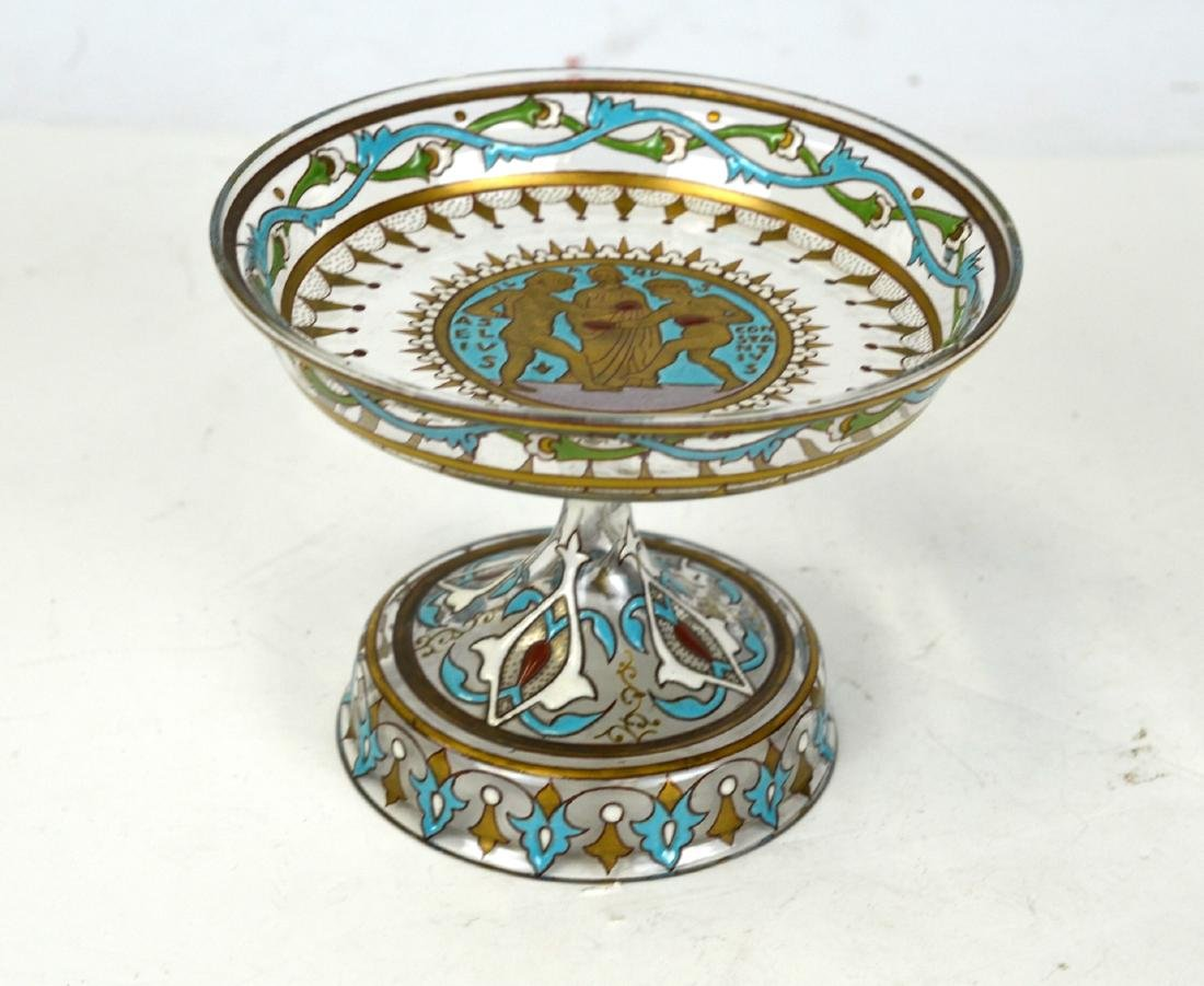 French Amberton Enameled  Art Glass Compote