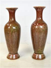 Pr Chinese Peach Bloom Glazed Vases w. Stands