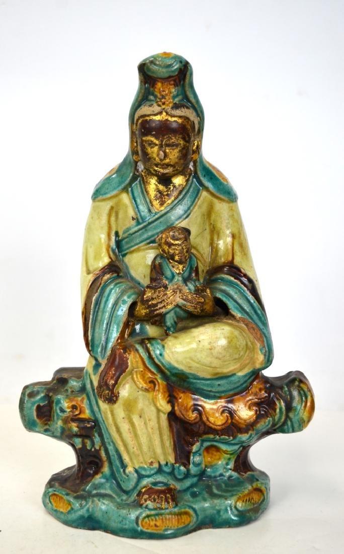 Chinese Sancai Glazed Guanyin Figurine