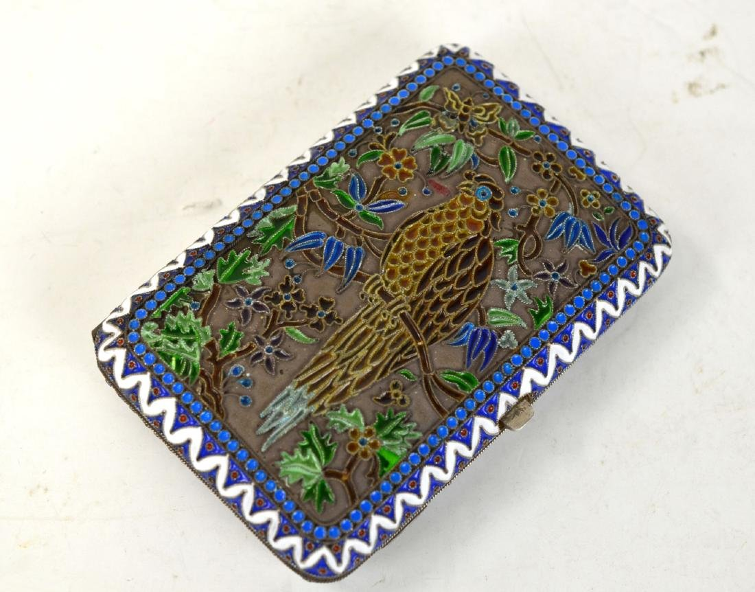 Russian Plique Dejour Silver Cigarette Box