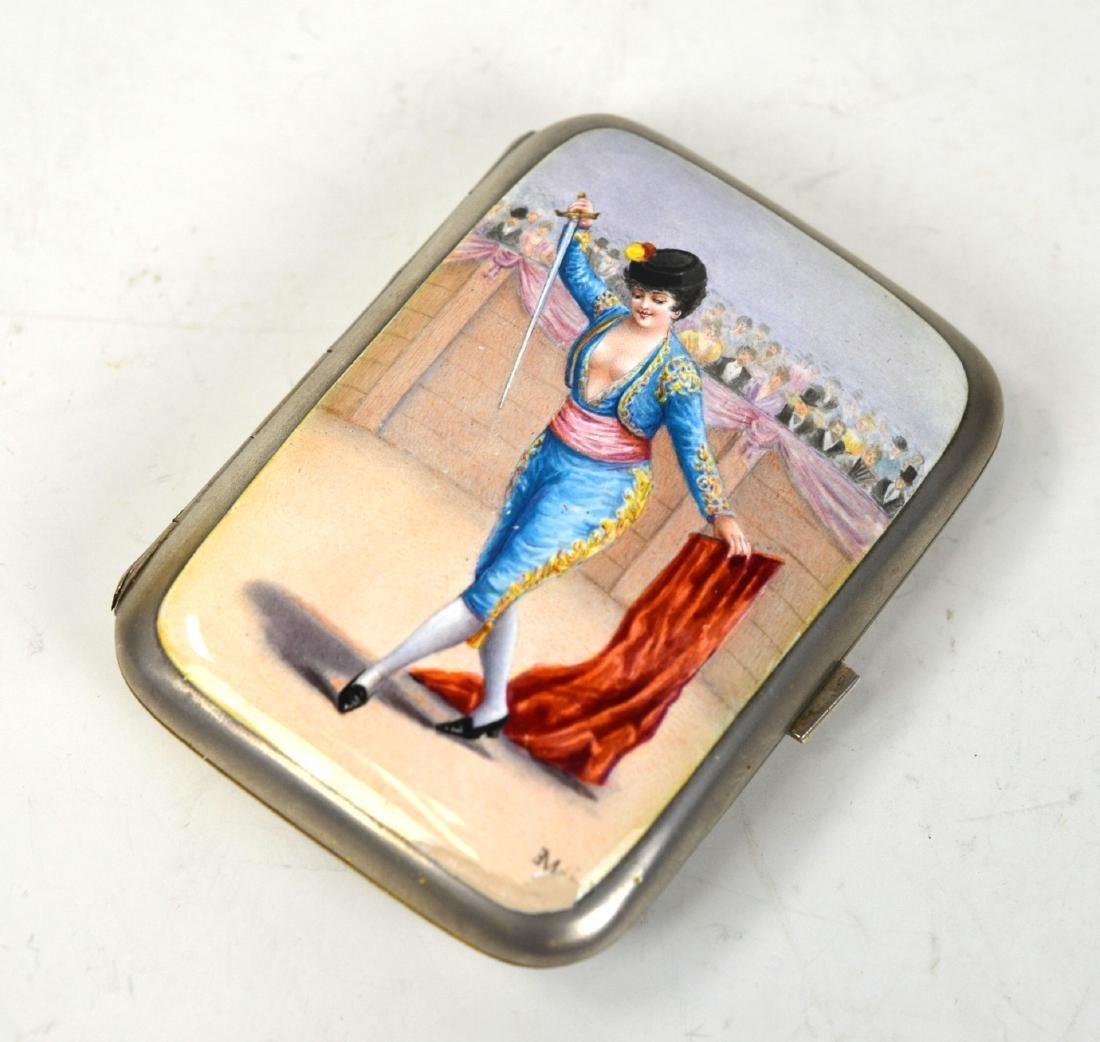 Silver Enamel Box with Semi Nude Matador