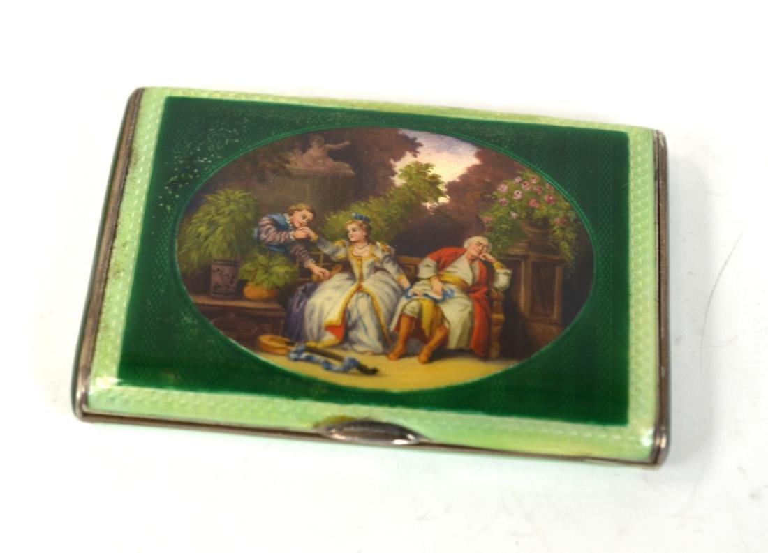 Silver Enamel Green Snuff Box