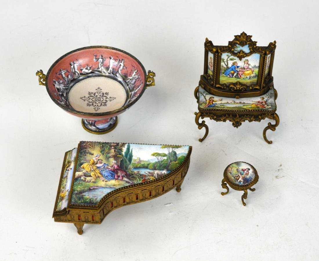 Four Enamel Miniature Pieces