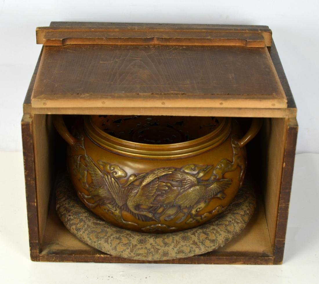 Japanese Bronze Covered Censer with Wood Box