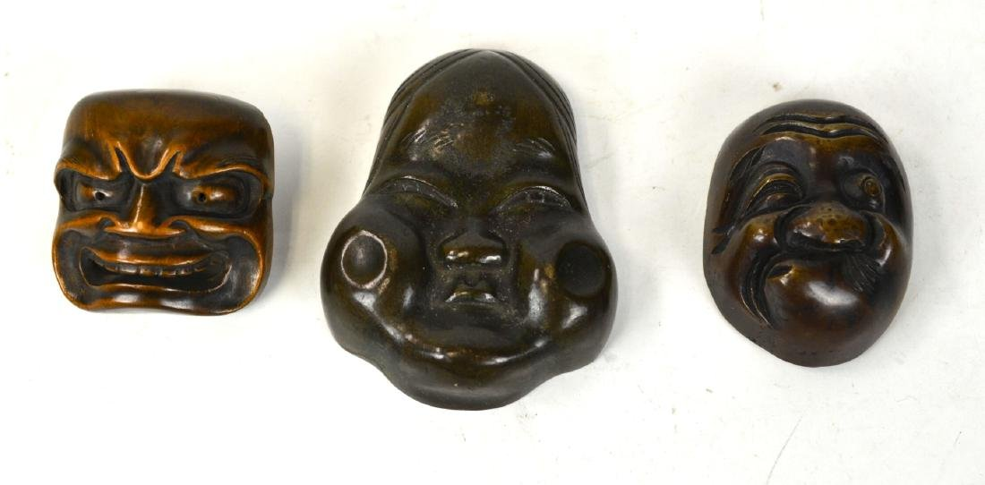 Three Japanese Bronze & Wood Miniature Masks