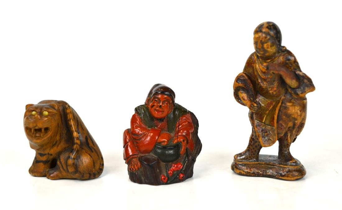 Three Japanese Wood Figure Netsukes