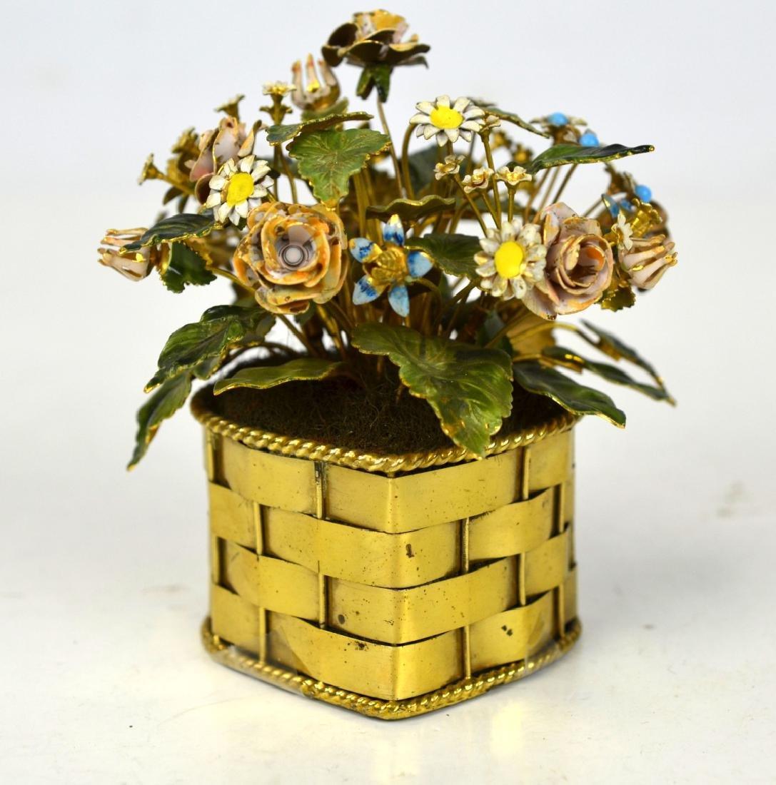 Cartier Heart Shape Flower Gilt Silver Basket
