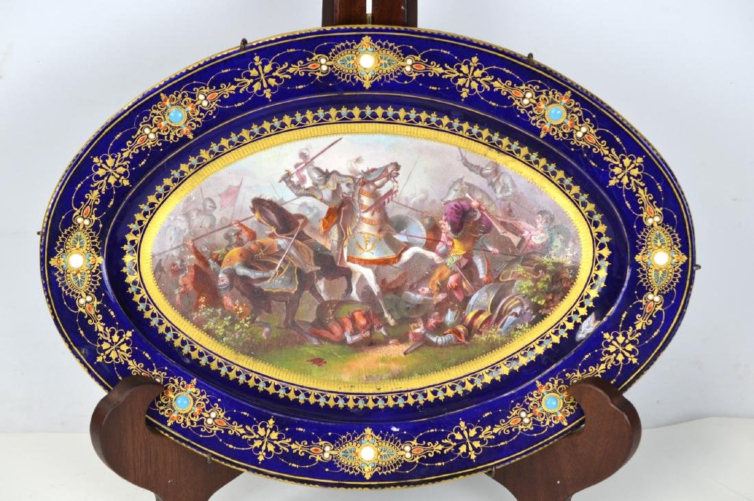 Oval Sevres Style Jeweled Plate