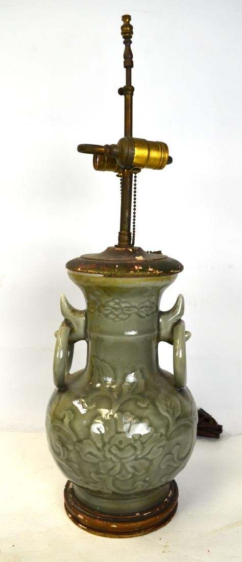 Chinese Celadon Vase Lamp Base
