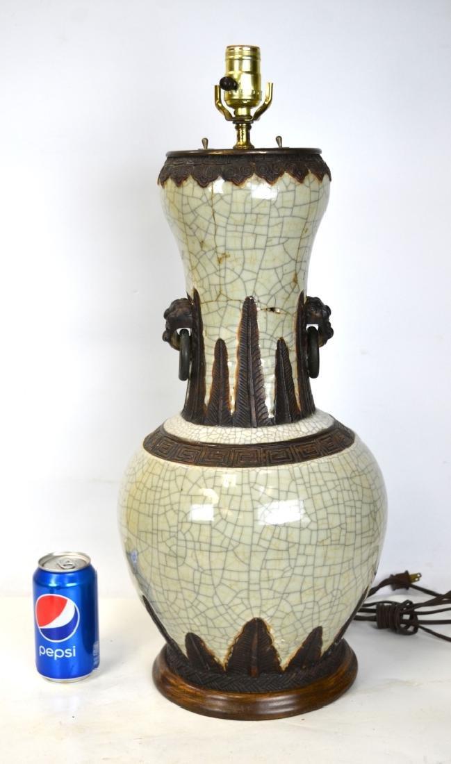 Large Chinese Celadon Crackle Vase Lamp Base