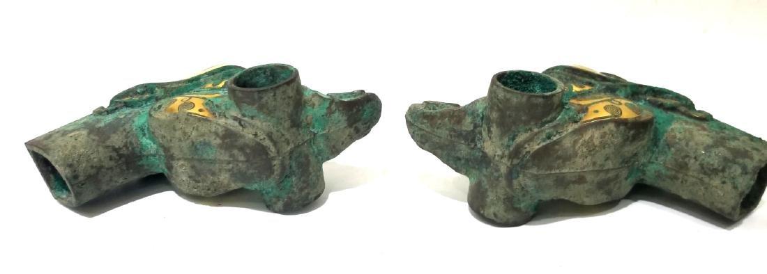 Pr Chinese Archaic Gold Inlaid Bronze Bird Heads