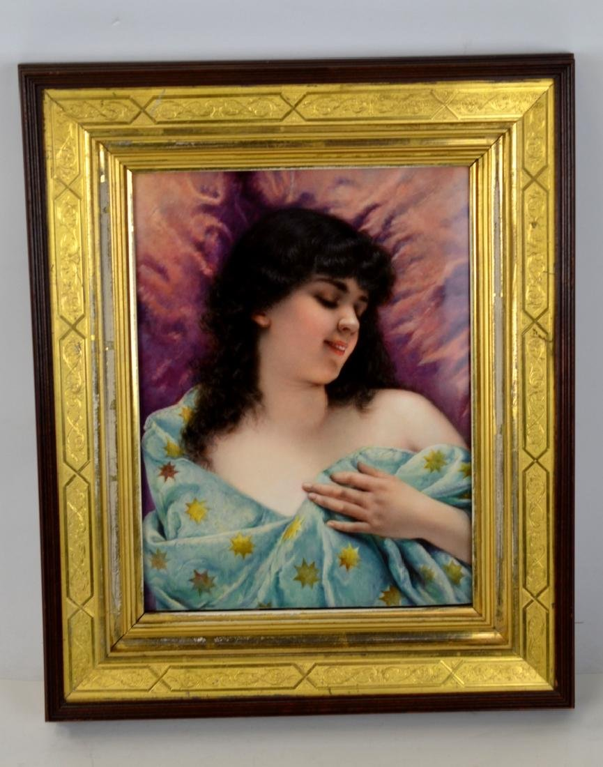 KPM Framed Porcelain Plaque of Girl