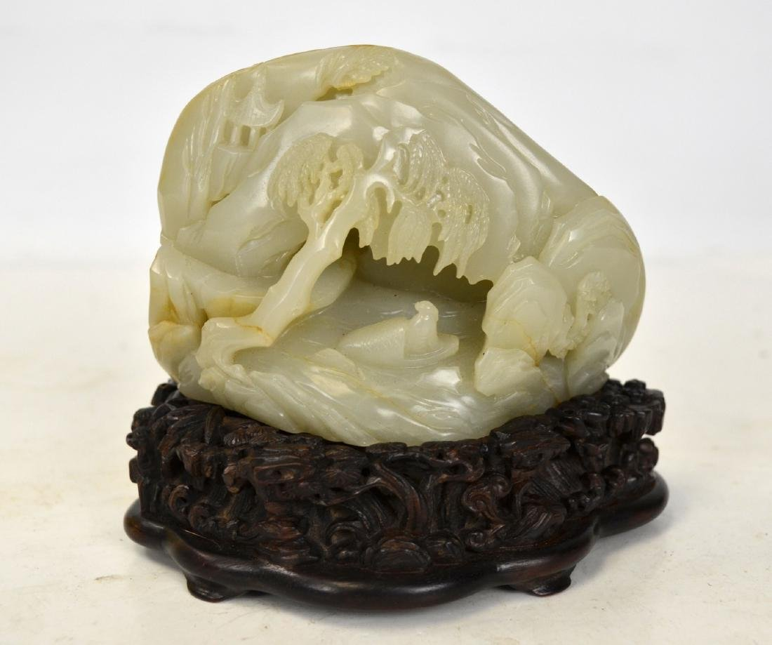 Chinese Carved Jade Boulder with Wood Stand