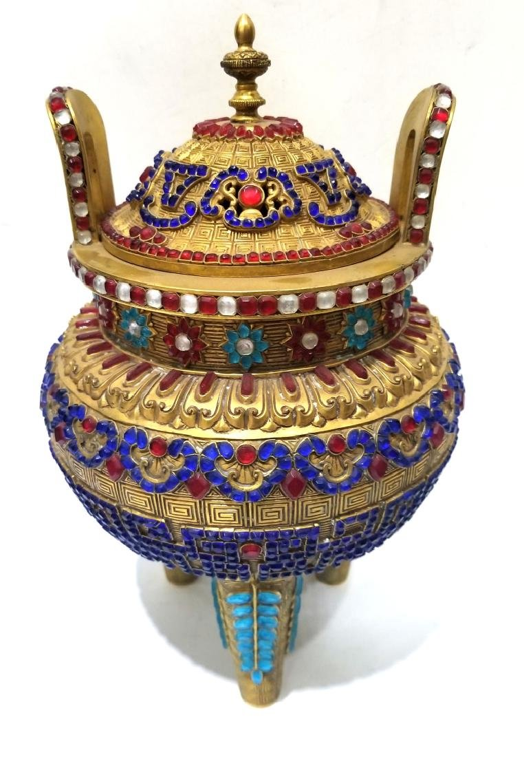 Chinese Gilt Jeweled Bronze Tripod Censer