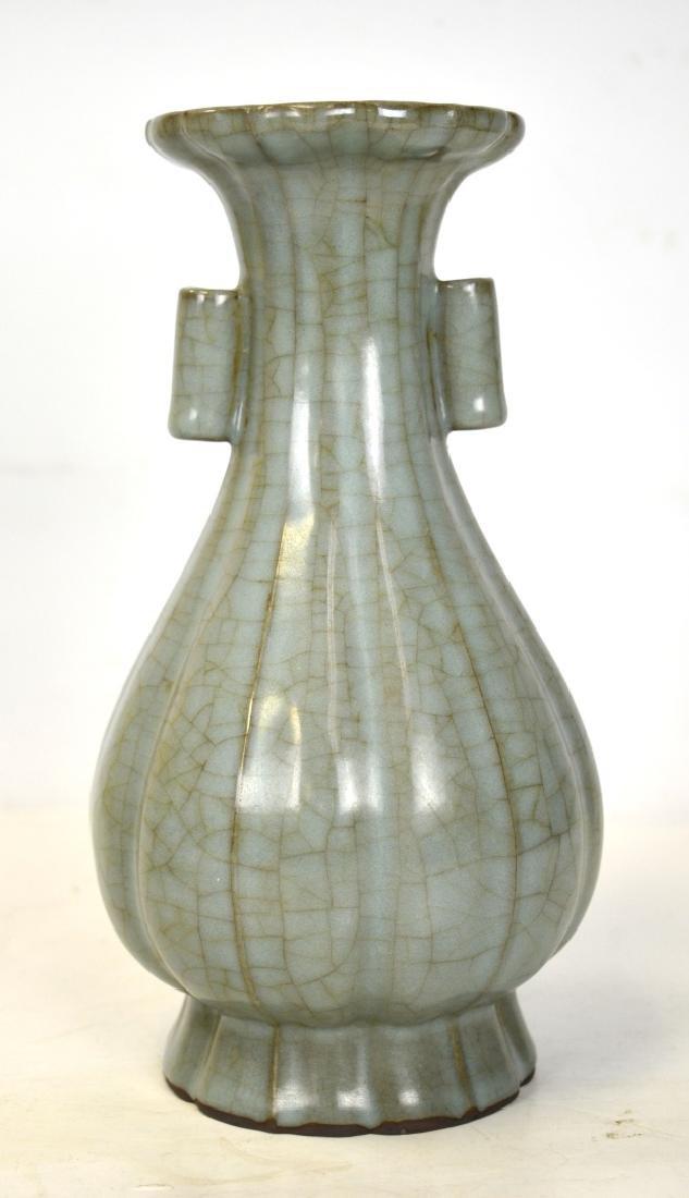 Chinese Crackle Glaze Celadon Vase w Handles